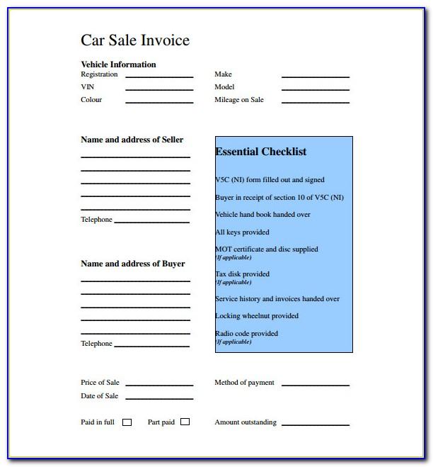 Car Sale Receipt Template Uk Free