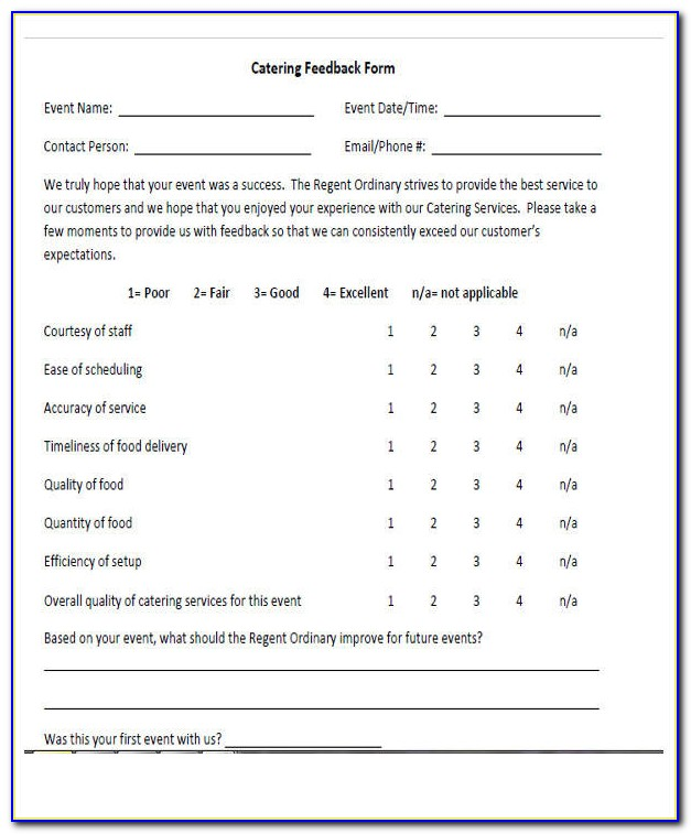 Catering Survey Template