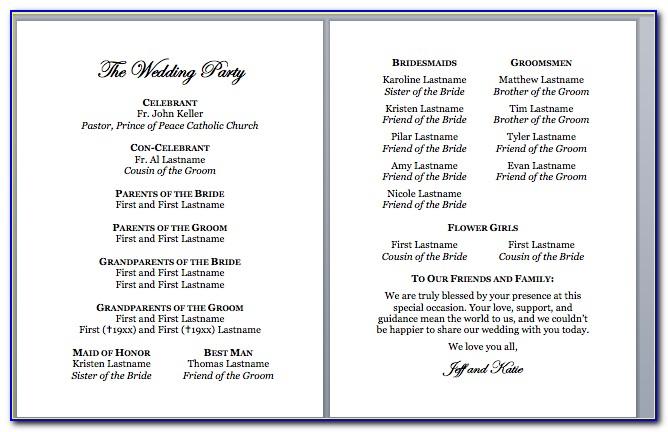 Catholic Wedding Program Format