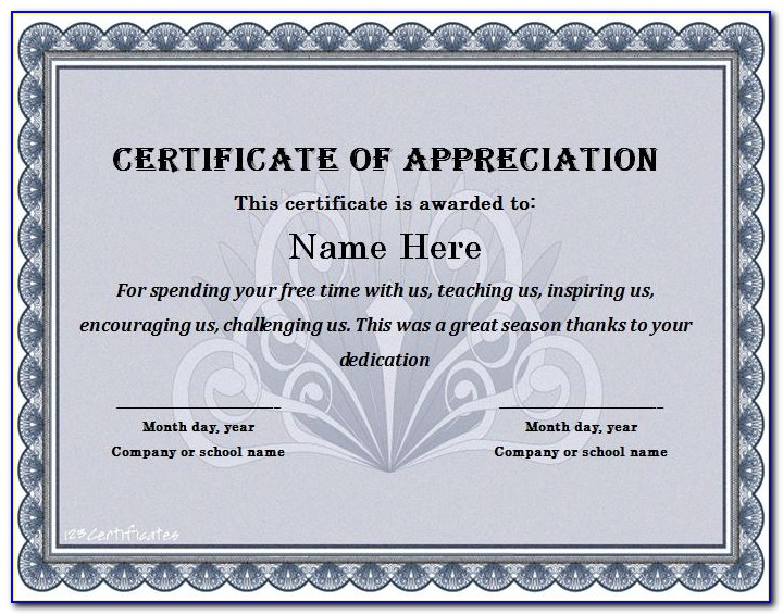 Certificate Of Appreciation Template Free Download