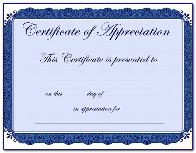 Certificate Of Recognition Template Editable