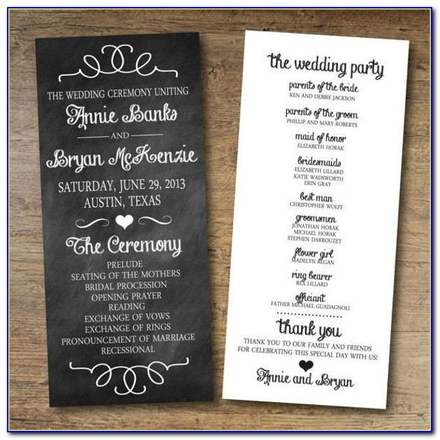 Chalkboard Wedding Program Template Free