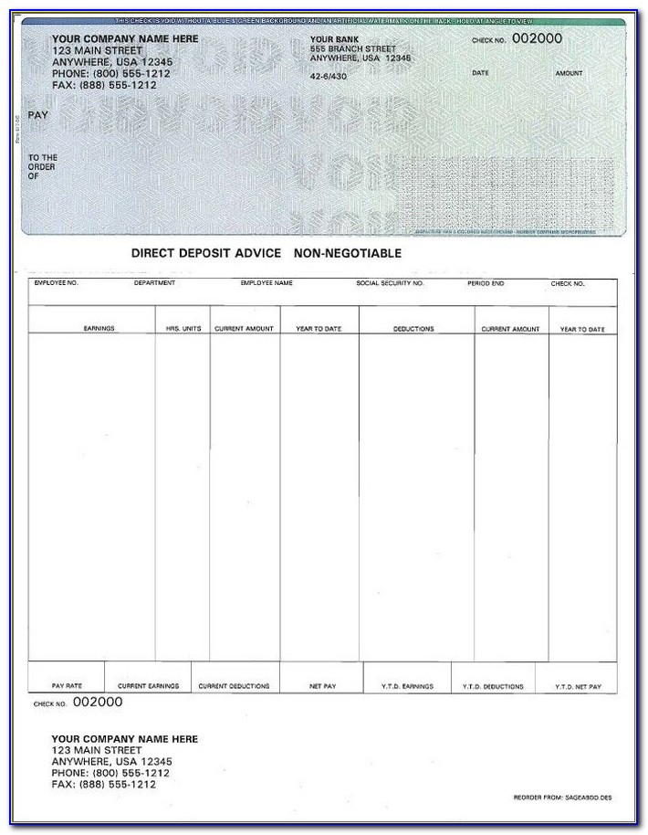 Check Stub Template Excel