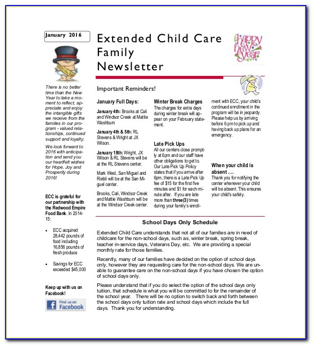 Child Care Newsletter Templates Free