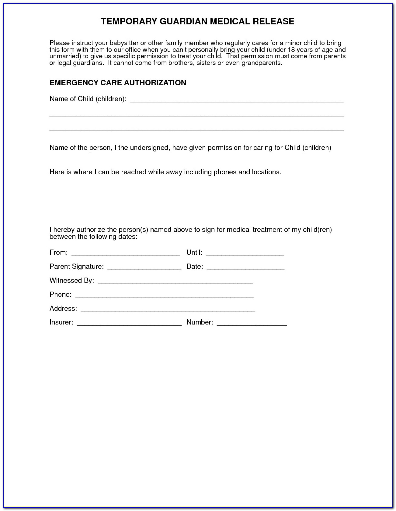 Parental Medical Consent Form Template