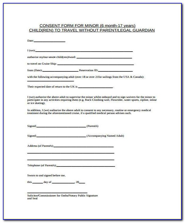 Child Travel Consent Form Samples