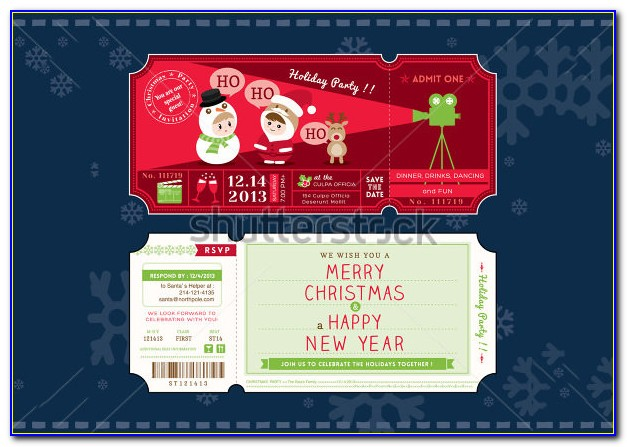 Christmas Party Ticket Template Word