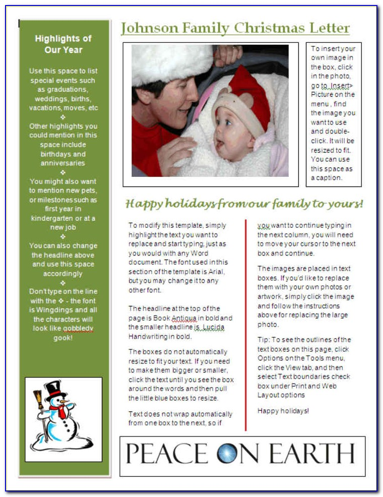 Christmas Themed Newsletter Template