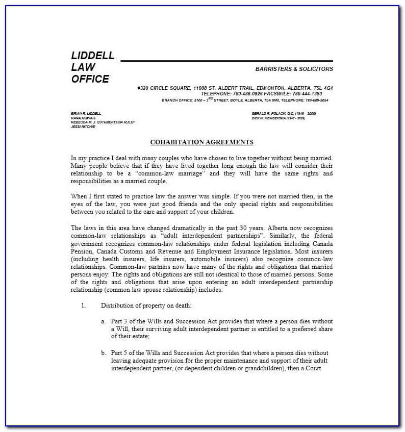 Cohabitation Agreement Template Ontario Free