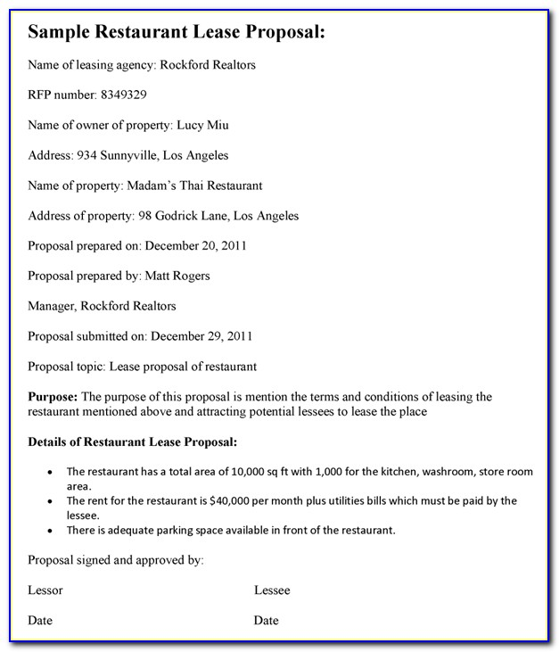 Commercial Lease Proposal Template