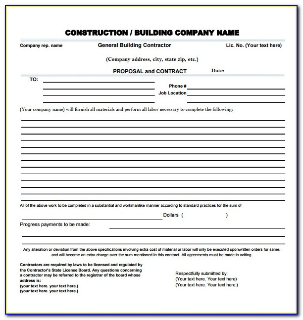 Construction Bid Package Template