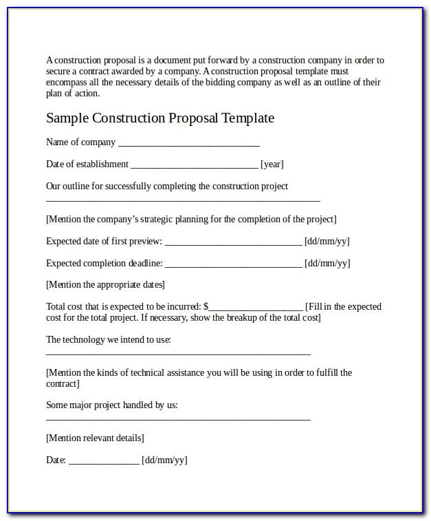 Construction Job Proposal Template Word