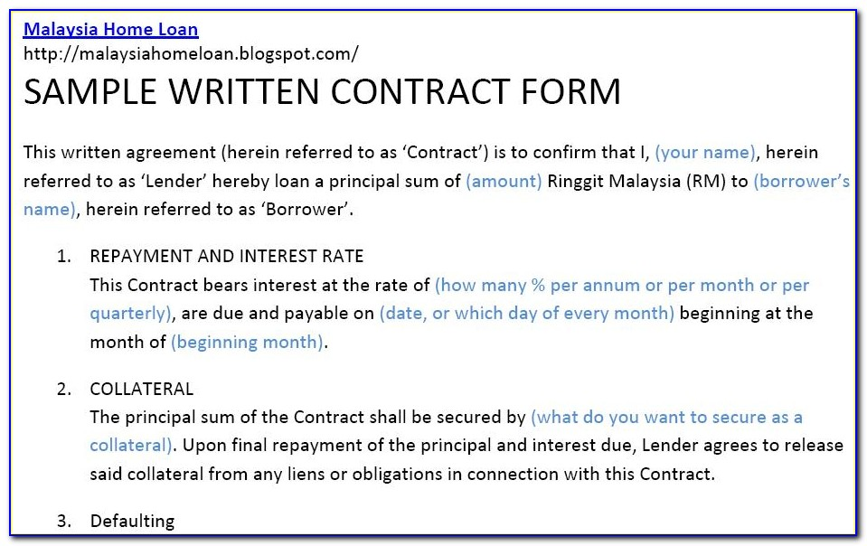 Contract For Borrowing Money From Family Template