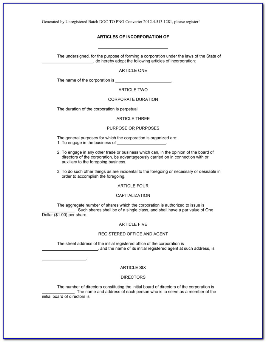 Corporate Articles Of Incorporation Template