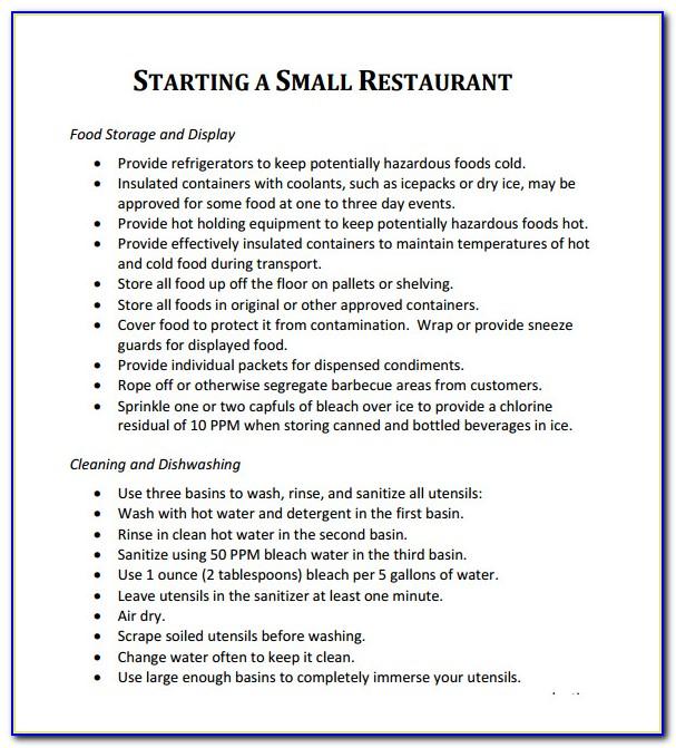 Deli Restaurant Business Plan Sample Pdf