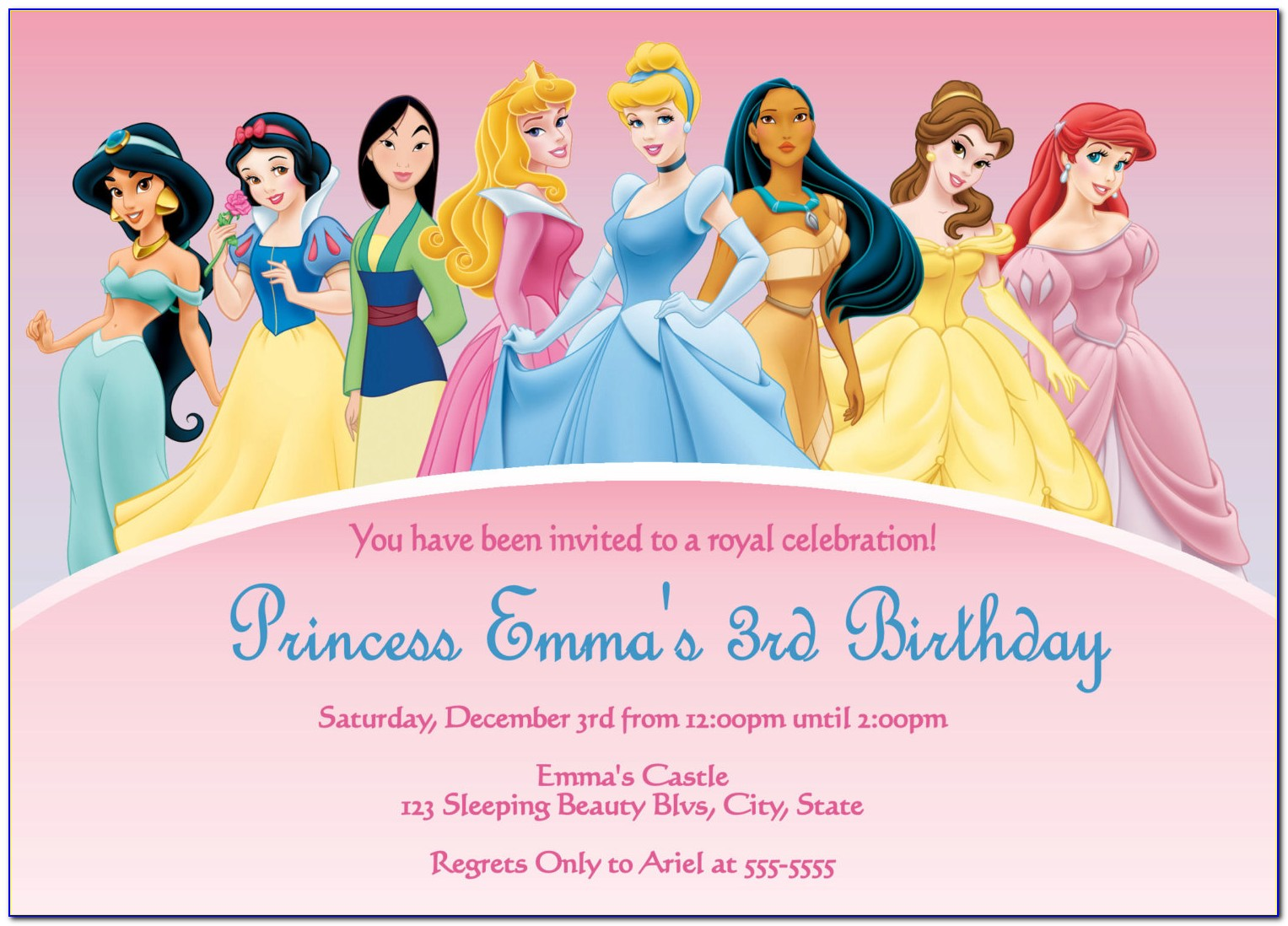 Disney Princess Birthday Invitations Templates