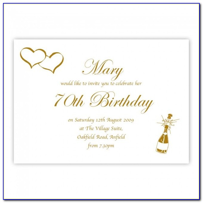 Editable 70th Birthday Invitations Templates Free