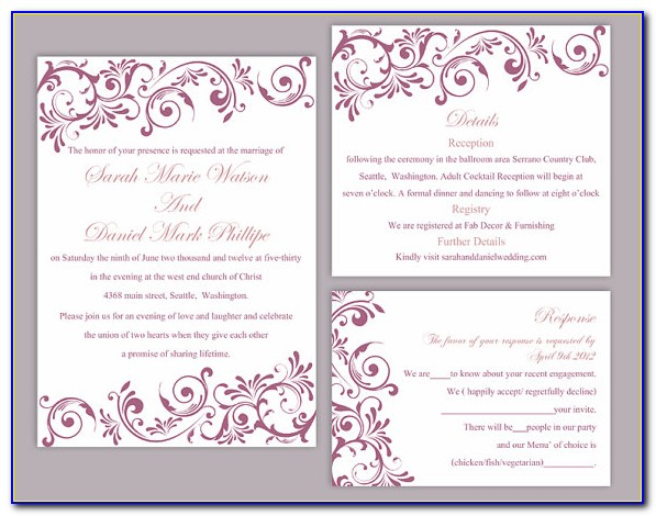 Editable Wedding Invitation Templates Free Download Floral