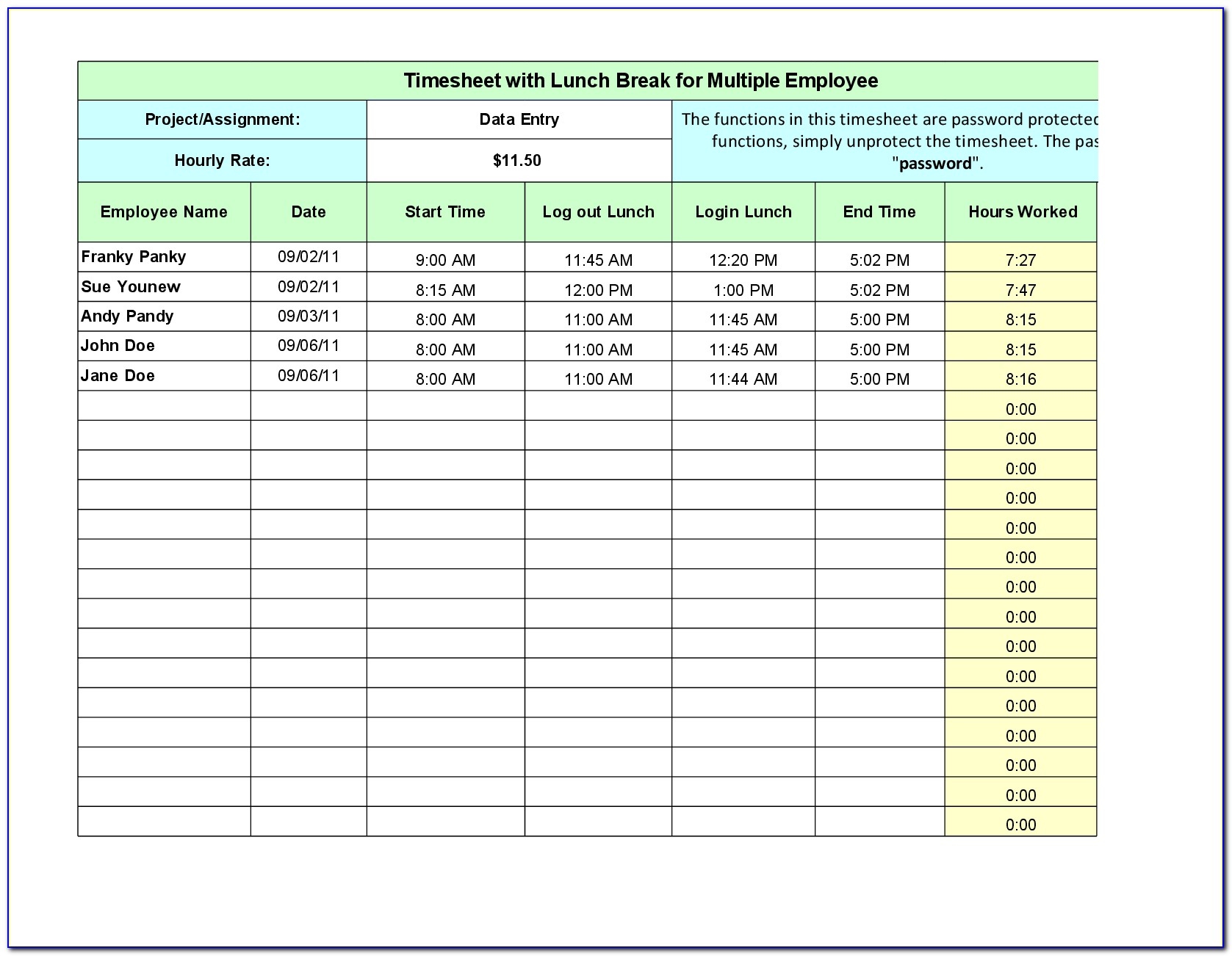 Employee Lunch Break Schedule Template