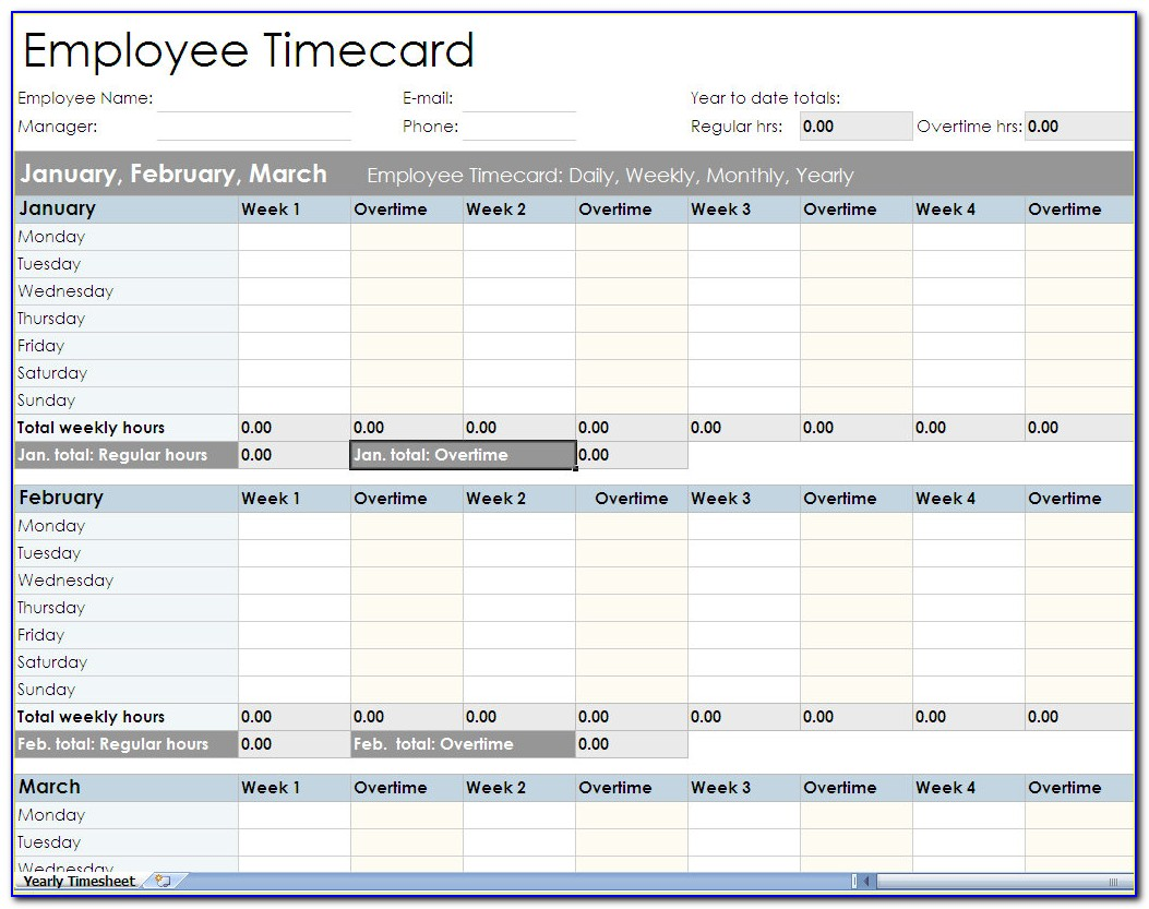 Employee Timesheet Template Excel Spreadsheet