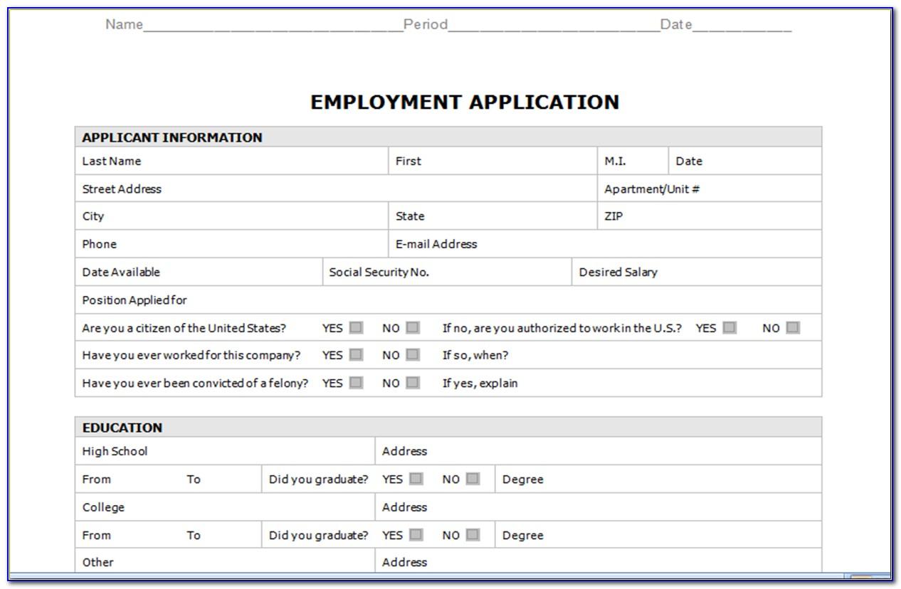 Employment Application Form Template Editable