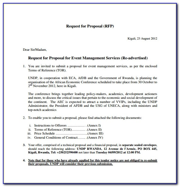 Event Management Proposal Letter Example