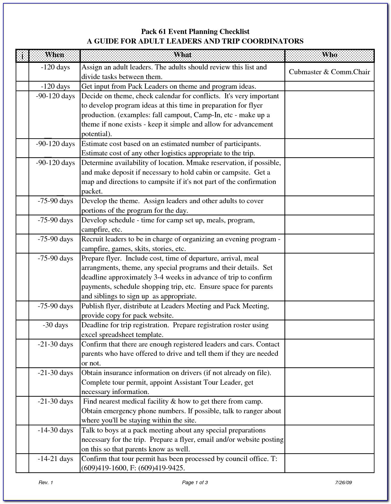 Event Planning Checklist Template Word