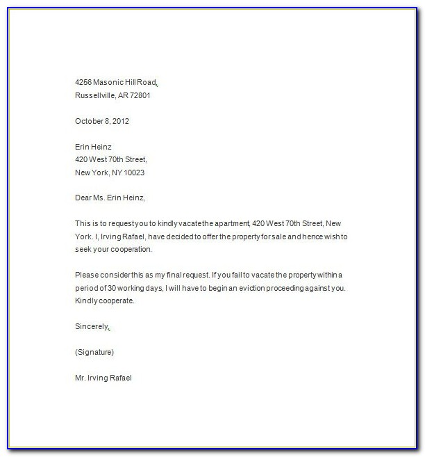Eviction Letter Template Florida