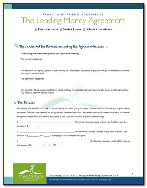 Example Contract For Borrowing Money