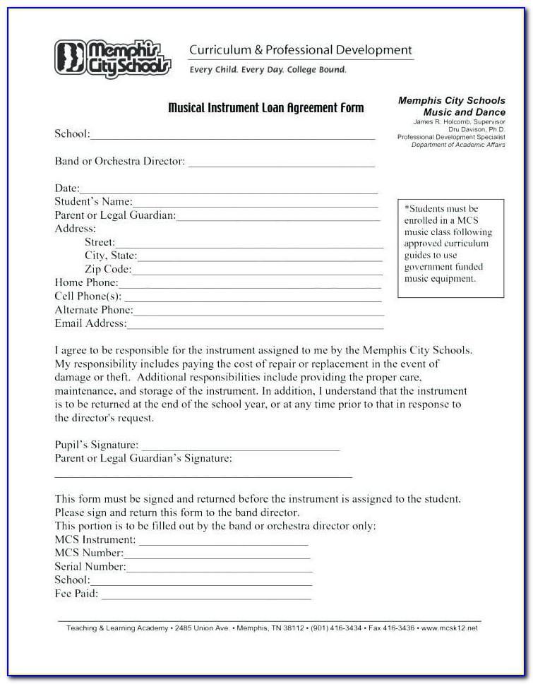 Example Of Contract For Borrowing Money