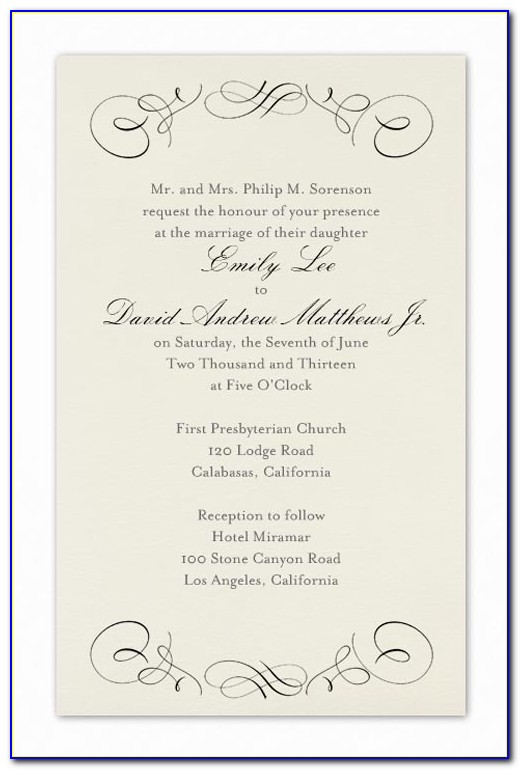 Examples Wedding Invitation Templates