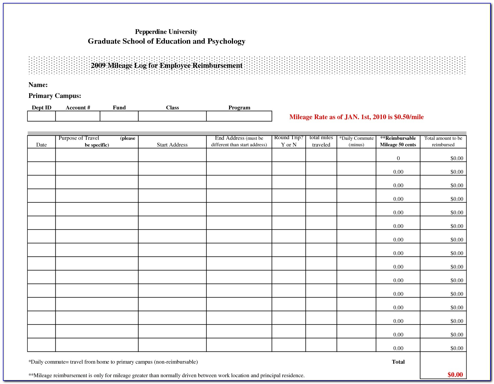 Excel Mileage Log Template For Self Employed