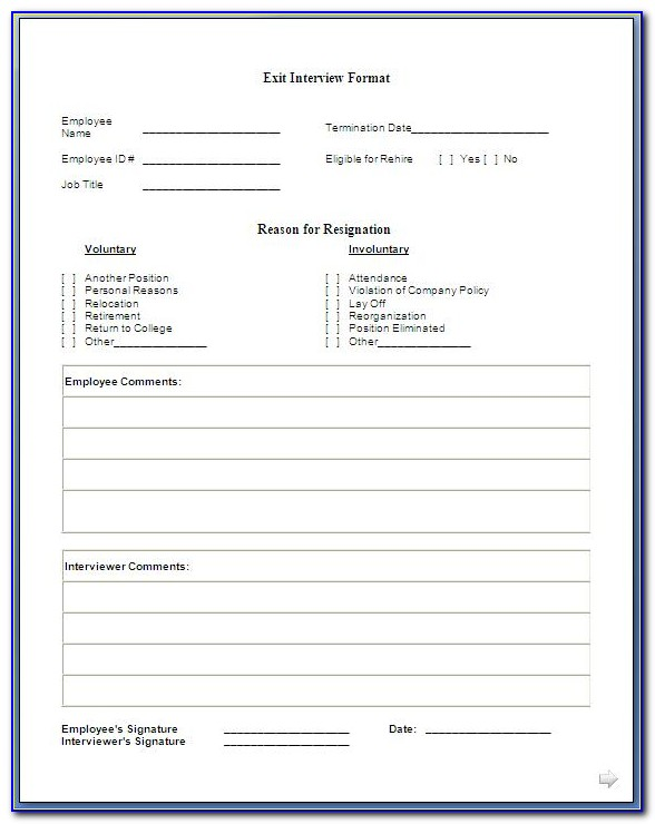 Exit Interview Form Template Doc