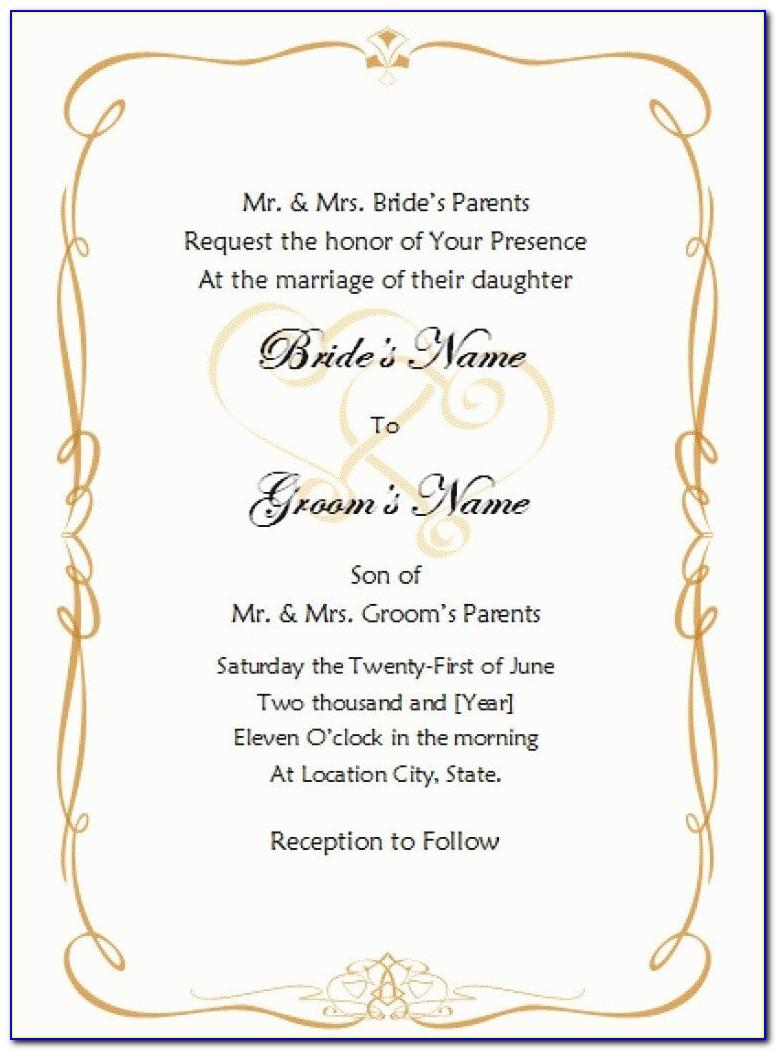 Formal Wedding Invitation Templates Free