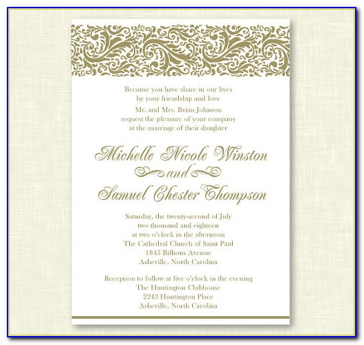 Formal Wedding Invitation Wording Templates