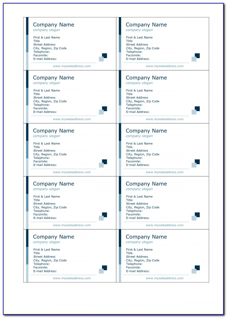 Free Business Card Template 10 Per Page