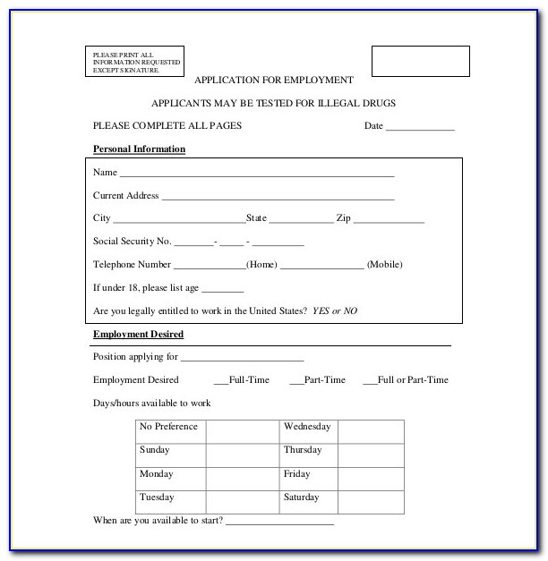 Free Editable Employment Application Template