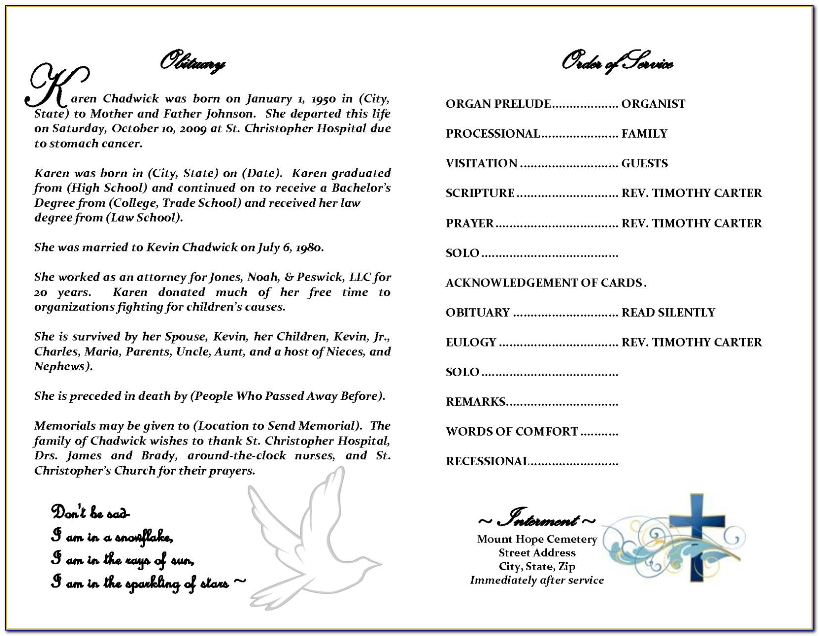 Free Editable Funeral Program Template Doc
