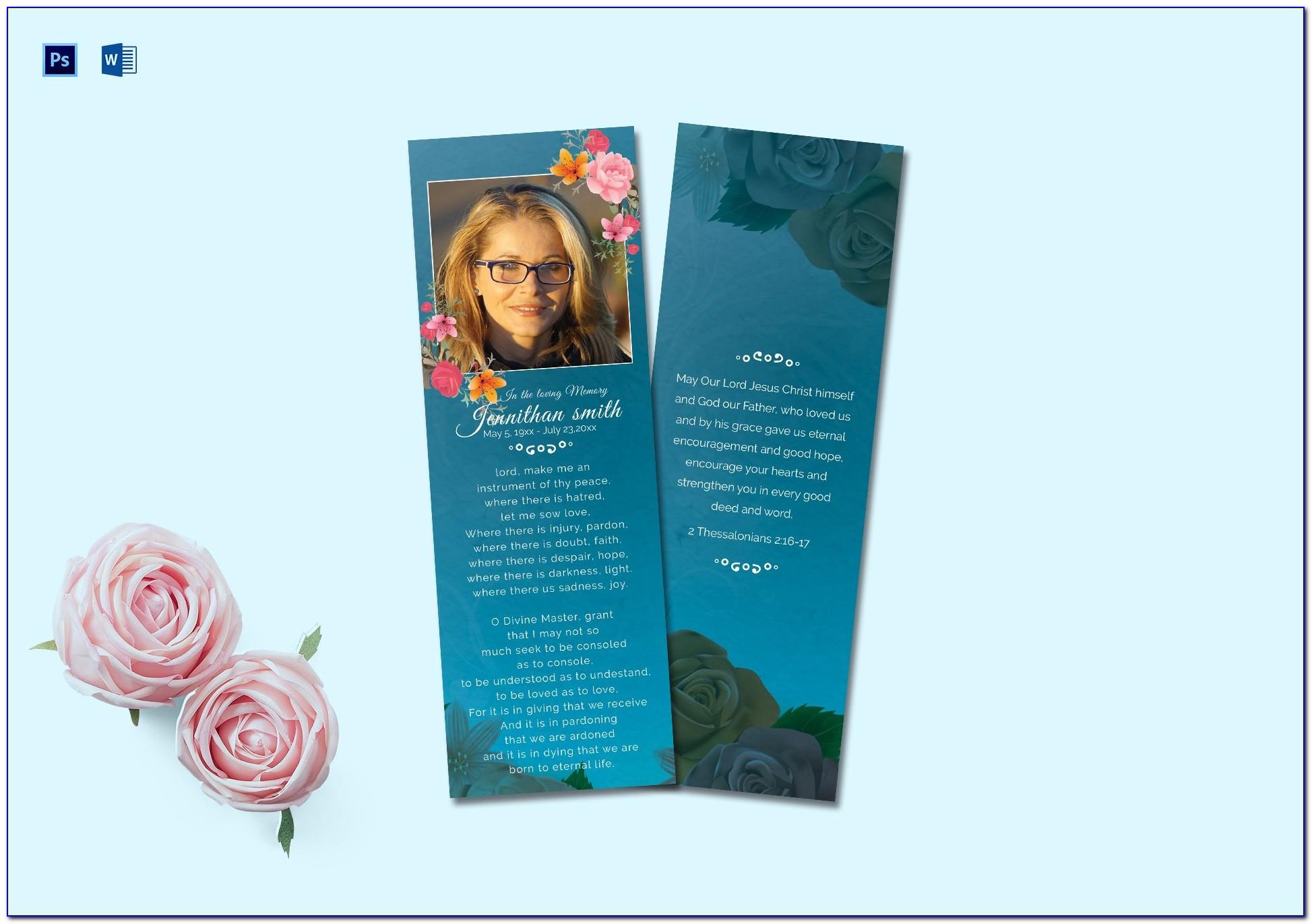 Free Funeral Memorial Bookmark Template