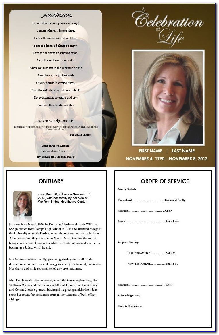 Free Funeral Program Template Microsoft Word 2010
