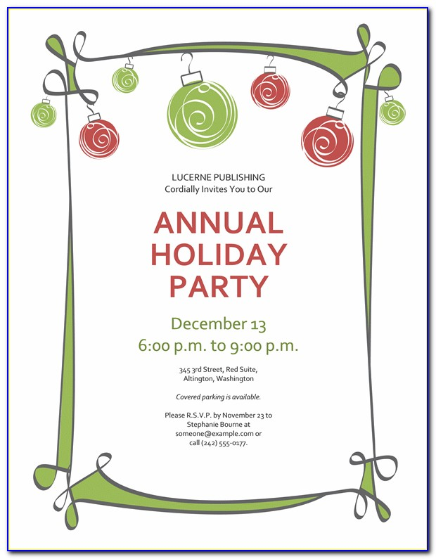 Free Holiday Party Invitation Templates Word