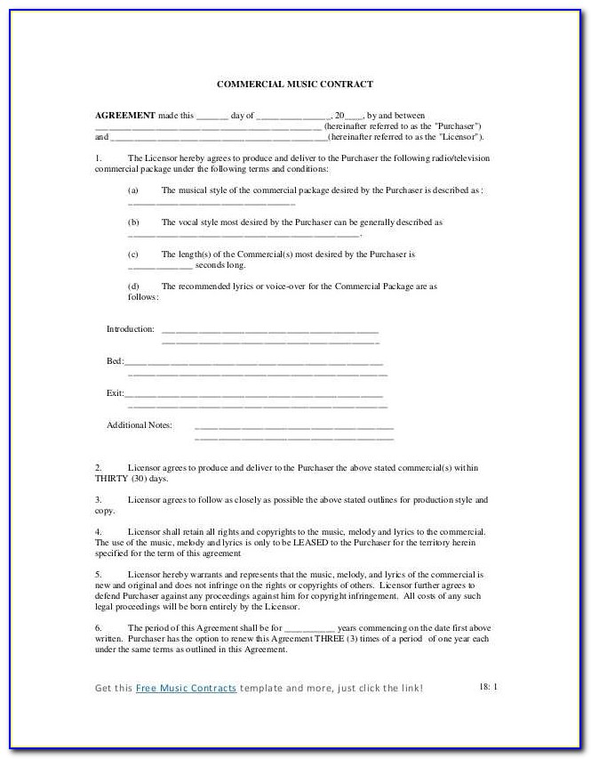 Music Publishing Agreement Contract Fast Mercial Music Contract Ja V110027
