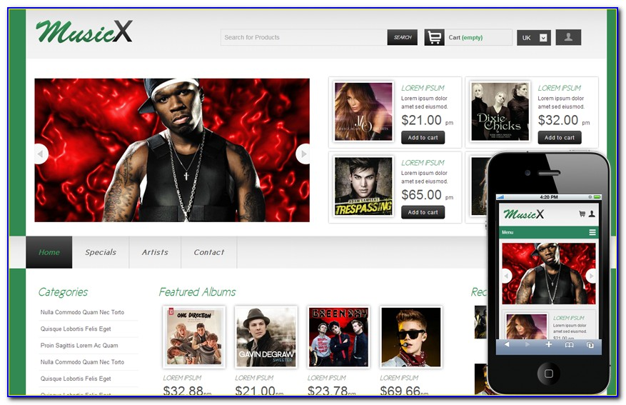 Free Music Website Template Download