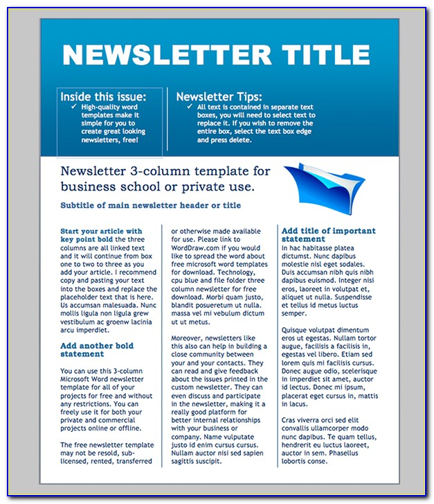 Free Newsletter Template Word Document