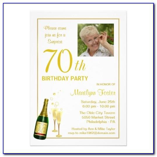 Free Online 70th Birthday Invitation Templates