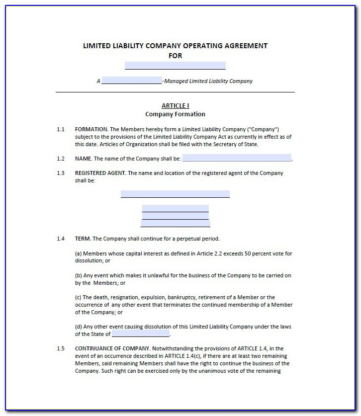 Free Operating Agreement Template Word