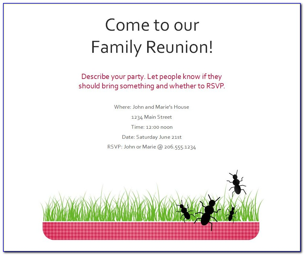 Free Printable Family Reunion Flyer Templates