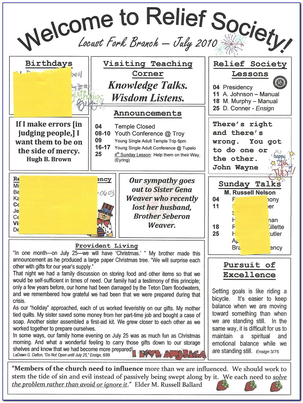 Free Printable Relief Society Newsletter Template