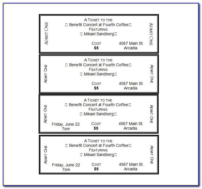 Free Printable Ticket Templates