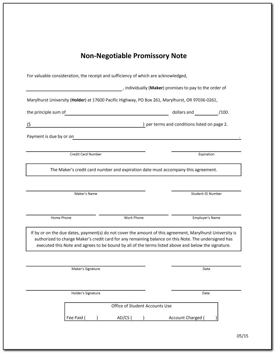 Free Promissory Note Template Florida